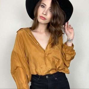 Vintage 100% silk gold button up blouse shirt